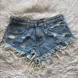 Carmar denim short shorts with fray